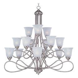 Maxim Lighting - Satin Nickel / Marble Glass Nova 15 Light 3 Tier Empire Chandelier - Product