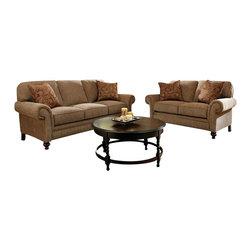 Broyhill - Broyhill Larissa 2 Piece Brown Sofa and Loveseat Set with Cherry Wood Finish - Broyhill - Sofa Sets - 61123Q161121Q1Set