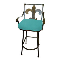 """Surf Side Patio - Fleur-de-lis Grande Swivel Bar stool, Aruba, 30"""" Bar Height - Accent your breakfast bar, home bar, tiki bar or patio with the hand crafted, wrought iron Fleur-de-lis Swivel Bar stool.  Made from thick guage, powder coated wrought iron, these gorgeous over sized bar stools swivel 360 degrees and bring a elegant touch to any area of your home, indoor or outdoor."""