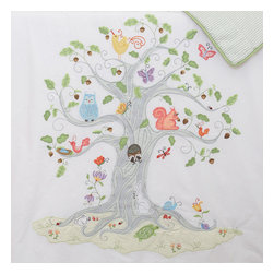 The Little Acorn - Wishing Tree Quilt - The Wishing Tree quilt has beautifully hand crafted applique's and embroideries of tiny forest creatures in a magnificently applique'd tree on a snow white ground. This versatile quilt can be used as a nursery wall hanging with pole pocket on reverse, as well as a toddler quilt. In the true spirit of heirloom quality, this incredibly detailed quilt can be passed down in the family for generations. Also perfect for monogramming and personalizing. Machine wash/dry.  Expertly hand tufted with 100% polyester hypoallergenic fill. Reverses to green yarn-dye stripe. Reverse of coverlet has pole pocket at top for display option. Machine washable -100% pure cotton. Made in China