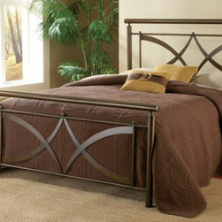 "Hillsdale - Marquette Metal Bed - Contemporary and clean, the Marquette bed is a standout in home dcor. The brushed copper finish adds warmth to the modern design features in the headboard and footboard. Small ball finials accentuate the arching criss cross design, creating a unique look for your bedroom. Constructed of heavy gauge tubular steel. Features: -Marquette collection. -Finish: Brushed Copper. -Small ball finials. -Arching criss cross design. Dimensions: -Footboard Height: 28"". -Full: 50"" H x 54.5"" W x 76"" D, 76 lbs. -Queen: 50"" H x 61.5"" W x 83.5"" D, 94 lbs. -King: 50"" H x 78"" W x 83.5"" D, 115 lbs."