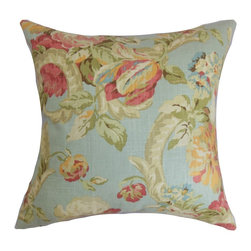 """The Pillow Collection - Khorsed Floral Pillow Blue 18"""" x 18"""" - Enhance your decor style by decorating this delightful accent pillow. This throw pillow is a pretty statement piece to add to your collection. This square pillow features a floral pattern with shades of blue, neutral, red, orange and green. This 18"""" pillow is made from plush and soft 100% cotton fabric, which ensures comfort and lasting quality. Hidden zipper closure for easy cover removal.  Knife edge finish on all four sides.  Reversible pillow with the same fabric on the back side.  Spot cleaning suggested."""