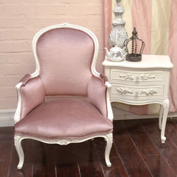 Curvy Sweet Rose Plum Velvet Armchair - This gorgeous armchair comes painted in our popular white and distressed. It has been newly upholstered in stunning pinkish-plum velvet. Truly romantic for any shabby chic home!