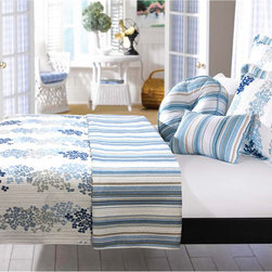 None - Harbor Quilt 3-piece Set - This harbor quilt set features a gorgeous floral pattern that reverses to a coordinating stripe print. Featuring blue,grey and white details,this exquisite quilt set imparts laid-back luxury to your bed.