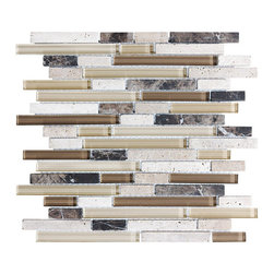 Rocky Point Tile - 10 Square Feet - Bliss Cappucino Random Strip Glass and Stone Mosaic Tiles - Bring the outside inside. Earthy browns and khakis give this strip tile a homey feel that will warm up your kitchen or bathroom instantly. Create an inviting backdrop for your indoor herb garden or place it behind a natural stone or butcher block countertop for a beautiful, natural effect.