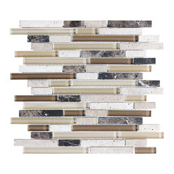10 Square Feet - Bliss Cappucino Random Strip Glass and Stone Mosaic Tiles