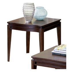 Homelegance - Homelegance Kasler Square End Table in Medium Walnut - Understated elegance flows effortlessly through the gentle curves of the Kasler collection. The medium walnut finish on walnut veneers is the first break with contemporary tradition that this unexpected gem makes. Further enhancing the look of the occasional group are the curves that stand out as bold statements to the profile of each tabletop.