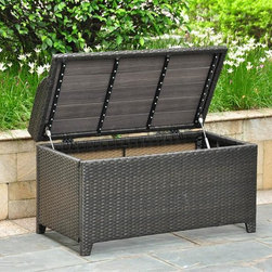 International Caravan - Outdoor Storage Bench in Antique Black Finish - Seats one person comfortably. Water resistant. Durable rust free frame. Made from wicker resin and aluminum frame. Assembly required. 40 in. W x 20 in. D x 20 in. H (40 lbs.)Perfect for storing towels or garden accessories. This is a perfect outdoor decorative for any outdoor setting. Easy to open for extra storage.