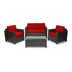"""Reef Rattan - Reef Rattan Ibiza 4 Pc Conversation Set - Black Rattan / Red Cushions - Reef Rattan Ibiza 4 Pc Conversation Set - Black Rattan / Red Cushions. This patio set is made from all-weather resin wicker and produced to fulfill your needs for high quality. The resin wicker in this patio set won't fade, shrink, lose its strength, or snap. UV resistant and water resistant, this patio set is durable and easy to maintain. A rust-free powder-coated aluminum frame provides strength to withstand years of use. Sunbrella fabrics on patio furniture lends you the sophistication of a five star hotel, right in your outdoor living space, featuring industry leading Sunbrella fabrics. Designed to reflect that ultra-chic look, and with superior resistance to the elements in a variety of climates, the series stands for comfort, class, and constancy. Recreating the poolside high end feel of an upmarket hotel for outdoor living in a residence or commercial space is easy with this patio furniture. After all, you want a set of patio furniture that's going to look great, and do so for the long-term. The canvas-like fabrics which are designed by Sunbrella utilize the latest synthetic fiber technology are engineered to resist stains and UV fading. This is patio furniture that is made to endure, along with the classic look they represent. When you're creating a comfortable and stylish outdoor room, you're looking for the best quality at a price that makes sense. Resin wicker looks like natural wicker but is made of synthetic polyethylene fiber. Resin wicker is durable & easy to maintain and resistant against the elements. UV Resistant Wicker. Welded aluminum frame is nearly in-destructible and rust free. Stain resistant sunbrella cushions are double-stitched for strength and are fully machine washable. Removable covers made with commercial grade zippers. Tables include tempered glass top. 5 year warranty on this product. PLEASE NOTE: Throw pillows are NOT included. Two Seat Sofa: W 57"""""""