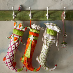 Patience Brewster - Patience Brewster Hearts and Diamond Christmas Stocking - This curled-toe stocking reminds us of an elf shoe. It brings smiles and fun to Christmas displays, and Santa is sure to fill it to the brim on Christmas Eve. From Patience Brewster. Handcrafted. Features a swinging heart and a crown of hearts and di...
