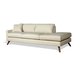 """TrueModern - Dane 94"""" One Arm Sofa with Chaise in Calvin Ivory - TrueModern Dane 94"""" One Arm Sofa with Chaise in Calvin Ivory has Danish-inspired legs and top stitching on the cushions. Upholstery is made of 100% polyester (30,000 rub count!). *Seat Height: 16.5"""""""