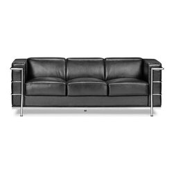 Zuo Modern - Fortress Sofa Black - A Mid-Century classic series, the Fortress comes with leather seating, leatherette back and side with a chrome steel tube frame. It comes in black, white or espresso.