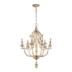 "Kathy Kuo Home - Maison French Country Antique White  6 Light Chandelier - The Maison Chandelier brings the French countryside to every room.  Constructed from wrought iron finished in a proprietary ""Persian White"" finish add antiqued elegance to this six light chandelier.  Sophistication meets country classic at its best"