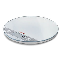 Soehnle - Soehnle Flip Digital Kitchen Scale - White - Soehnle Flip Digital Kitchen Scale - White - 66160    Super-flat, space-saving kitchen scale made of glass with a height of only 15 mm / 0.6 inch. The sensor keys ensure easy and convenient operation – a soft touch of the keys is sufficient. Very practical: the display can be switched between weight and volume (g, lb oz, ml, and fl oz). The smooth glass surface with a diameter of 20 cm / 7.9 inch is suitable for different containers and is very easy to clean.