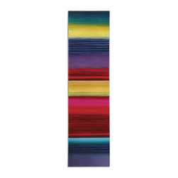 Uttermost - Rainbow Bright Modern Art - This bold rainbow brings color home! Hand-painted on stretched canvas with a high-gloss finish for extra impact, the work eschews a frame for the off-the-easel appeal so refreshing in your decor.