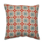 Pillow Perfect - Ferrow Blue and Red 16.5-Inch Throw Pillow - - Pillow Perfect Ferrow 16.5-Inch Throw Pillow  - Sewn Seam Closure  - Made in the USA  - Knife Edge Pillow Perfect - 528830