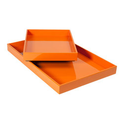Studio A - StackTray - Orange - Small - This high-quality Vietnamese lacquer is made in the traditional, multi-layered process which requires seven layers and several weeks to achieve a perfect finish. Available in two sizes. Each size sold separately.