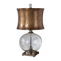 Uttermost - Marcel Clear Glass Table Lamp - Clear Glass Body With Polished Chrome Metal Details And Bronzed Burnishing. The Round Modified Drum Shade Is Made Of Mesh Sequins Finished In A Copper Bronze. Number Of Lights: 1, Shade: Round Modified Drum Shade, Shade Size: Height: 12, Top: 16.5w X 16.5d, Bottom: 16.5w X 16.5d, Voltage: 110, Wattage: 150w, Bulbs Included: No