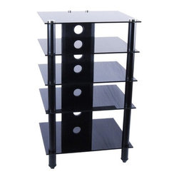 """Tier One Designs - Audio Rack - Features: -Wood particle board on inside.-Tempered glass top.-Shelves provide ample space to store audio, gaming components, DVD and docking stations.-Cord management system reduces unsightly wires.-Accessories not included.-ISTA 3A certified.-Aluminum construction.-Material: Aluminum / Glass.-Distressed: No.-Shelf Weight Capacity: 66 lbs.-Powdercoat Finish: No.-Number of Shelves: 4.-Adjustable Shelving: No.-Scratch Resistant Shelves: No.-Cloth Back Detail: None.-Multimedia Storage: No.-Casters: No.-Sand Lead Fillable: No.-Stabilizer Feet: Yes.-Lighted: No.-Collection: Yes.-Hardware Included: Yes.Dimensions: -Assembled Dimensions Height: 39.5"""".-Assembled Dimensions Width: 24"""".-Assembled Dimensions Depth: 20.25"""".-Assembled Weight: 78 lbs.-Shelf Depth: 20.25"""".-Shelf Width: 24"""".-Open Storage Area Height: 7.25"""".-Open Storage Area Width: 18.25"""".-Open Storage Area Depth: 20.25"""".Assembly: -Assembly Type: Assembly required.Warranty: -Manufacturer provides 1 year warranty against defect.-Product Warranty: 1 Year."""