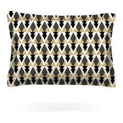 """Kess InHouse - Nika Martinez """"Glitter Triangles in Gold & Black"""" Geometric Pillow Sham (Cotton, - Pairing your already chic duvet cover with playful pillow shams is the perfect way to tie your bedroom together. There are endless possibilities to feed your artistic palette with these imaginative pillow shams. It will looks so elegant you won't want ruin the masterpiece you have created when you go to bed. Not only are these pillow shams nice to look at they are also made from a high quality cotton blend. They are so soft that they will elevate your sleep up to level that is beyond Cloud 9. We always print our goods with the highest quality printing process in order to maintain the integrity of the art that you are adeptly displaying. This means that you won't have to worry about your art fading or your sham loosing it's freshness."""