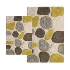 """Chesapeake Merchandising - 2 Piece Pebbles Bath Rug Set in New Willow - A Plush Pebble Pattern Bath Rug to add the feel of relaxation to your bathroom.  Select from 4 beautiful color combinations to match your bathroom decor.  The 2 piece set Includes a 21""""x34"""" and 24""""x40""""rug.  Spun of 100% Cotton. Machine Tufted with anti skid spray latex back. Dimensions: 21""""W X 34""""L and 24""""W X 40""""L; Color: New Willow; Material:  Cotton; Shape: Rectangular; Construction: Machine Tufted and Powerloom"""