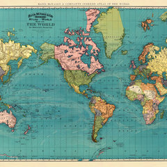 Antique world map print 25 x 33 large format by AncientShades
