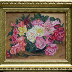 Spring Flowers by The Night Stand (Original) by Vt Browne - There are a great number of still life paintings in this collection. The paintings are an accurate reflection of the items painted. Colors, shadowing and realism are all highlights of the pieces. The pink flowers in this painting just pop off of the canvas. Finished with a gold frame, this makes for a beautiful floral still life.