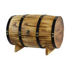 Quickway Imports - Wooden Barrel Treasure Chest - Size: 15W x 9D x 10.5H Inch