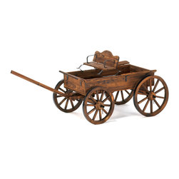 KOOLEKOO - Rustic Wagon - Old-time buckboard styling and a weathered finish give this cart the instant appeal of a cherished antique! Real rolling wheels add a charming touch and allow easy access to move things around your garden.