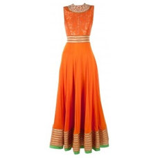 Orange zardozi embroidered anarkali suit available only at Pernia's Pop-Up Shop.