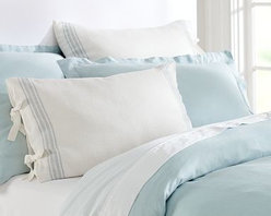 French Stripe Linen Duvet Cover, Full/Queen, Blue - In a design reminiscent of cafe awnings, our bedding has a cheerful, casual look that's perfect for spring. Woven of pure linen. Yarn dyed for vibrant, lasting color. Duvet cover and sham reverse to piece-dyed solid. Duvet cover and sham have button closures. Duvet cover, sham and insert sold separately. Machine wash. Imported.