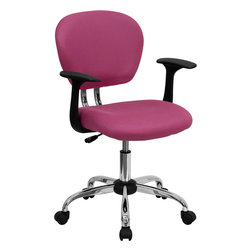 Flash Furniture - Flash Furniture Mid-Back Pink Mesh Task Chair with Arms and Chrome Base - This value priced mesh task chair will accommodate your essential needs for your home or office space. This chair will add a splash of color to your office for a non-traditional look. chair features a breathable mesh material with a comfortably padded seat. [H-2376-F-PINK-ARMS-GG]