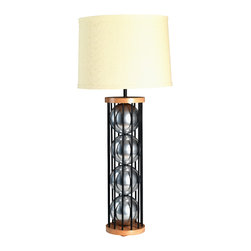 "Stephanie Nichols Studio - Steel 12 Table Lamp, Chrome with Black Rods - The Steel 12 Table Lamp is a mahogany and powder coated steel frame with brilliantly glazed ceramic spheres.  The lamp is fitted with a dark bronze 3 way rotary turn knob, all parts UL approved. It is rated a maximum 250w/250v. However we recommend using a 3 way bulb or single 60w (bulb not ncluded). Comes with a hardback linen shade. Shade size: top 14"" x 16"" bottom x 10"" tall. Product is made to order which can result in longer lead times."