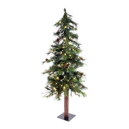 "Vickerman - Mix Country Tree 100WmWht LED (4' x 26"") - 4' x 26"" Mixed Country Tree , 217 PVC tips and 100 Warm White Italian LED Lights, metal stand. Utilizes energy-effiecent, durable LED technology."