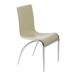 """Apt2B - Kenilworth Floating Chair, Cream, Set of 4 - Everything about these chairs is ultramodern cool, from the undulating wave-form seat and back laminated in slick leather to the tapered chrome legs that curve toward the back but never touch the seat. Weightlessly """"floating"""" around the table, they will give the room an airy, futuristic vibe. Try them in clean white, cream, dark brown, black or racy red."""