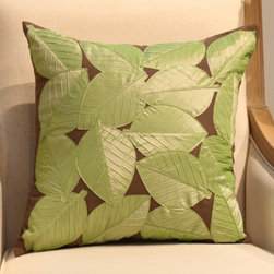 Full of Green Leaves Throw Pillow Cover - Size: L45*W45cm