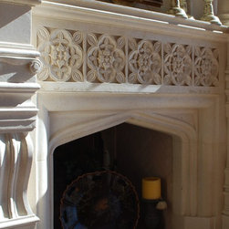 Custom Fireplace Surrounds - The Lyon  Fireplace Surround in Honed Travertine.