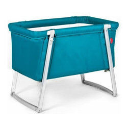 BabyHome - BabyHome Dream Portable Crib, Turquoise - Dream is an extremely lightweight cot with an aluminum frame that is easy to assemble/disassemble. Its innovative adjustable leg system allows, with the click of a button, to change the leg position from stationary to a rocker to wheels that allow Dream to be easily moved around the house. The fabric can be removed from the aluminum frame and washed. Dream comes with a high-density foam mattress that prevents the baby from getting caught between the edge of the mattress and side of the cot and a honeycomb structured mattress pad that is safe and breathable.