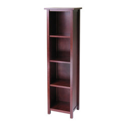 Winsome Wood - Winsome Wood Milan Storage Shelf / Bookcase with Antique Walnut Finish X-61449 - This spacious shelf is ideal for displaying your treasure or storage your books.  Simple and elegant design is a perfect additional to any home.  Add baskets to create a new function and look for the shelf.  Made of combination of solid and composite wood in Antique Walnut Finish.  Assembly Required