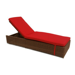 Wicker Paradise - Patio Wicker Chaise: Adjustable With Wheels - Patio Wicker Chaise   Made of High Density Outdoor Wicker! Multiple Positioned Adjustable Chaise Lounge with Wheels for maximum comfort. Includes a full flat position! Customize your chaise lounge with 3 different finishes and many Sunbrella fabrics.     Outdoor patio scene of a pair of wicker chaises in Sunbrella jockey red fabric. Makes you just want to get cozy and adjust that patio wicker chaise in the your favorite position to soak up the sun!