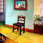 """Chair And Pears Interior"" (Original) By Michelle Calkins - This Is A Colorful Interior Scene Highlighting A Chair And Pears On A Tabletop."