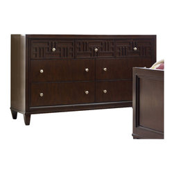 Hooker Furniture - Hooker Furniture Opus Designs Ludlow Seven Drawer Dresser in Walnut - Hooker Furniture - Dressers - 103046261 - With a metropolitan and modern attitude Ludlow is distinguished by an intriquing walnut veneer story and hip fretwork detail. The architectural style of Ludlow is equaled only by its flexibility and function.