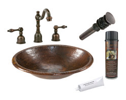 Premier Copper Products - Small Oval Self Rimming Sink w/ ORB Faucet - PACKAGE INCLUDES: