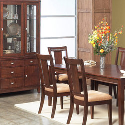 None - American Lifestyles 'Salvatore' Dark Walnut Side Chairs (Set of 2) - These Salvatore side chairs from American Lifestyles highlight a durable solid wood and veneer construction in a dark walnut finish. These transitional chairs are furnished with a rich microfiber upholstery.