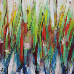 Above, Below (Original) by Lynne Taetzsch - This abstract landscape has an upbeat feel, with its mostly vertical lines and shapes.  There is a feeling of spring renewal, a playful dance of color and light.