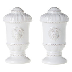 """Juliska - Juliska Urn Salt and Pepper Shakers Set Whitewash - Juliska Urn Salt and Pepper Shakers Set Whitewash.Inspired by old-world estates and featuring heraldic lion's heads, set of Urn shakers adds a dash of stateliness and a sprinkling of whimsy to the table. Dimensions: 3.5"""" H"""