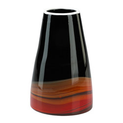 Large Black and Deep Red Swirl Vase - *Large Black and Deep Red Swirl Vase