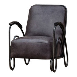 Marco Polo Imports - Stefans Metal Chair - Industrial metal accent chair, built with quality leather, in a old saddle gunmetal finish.