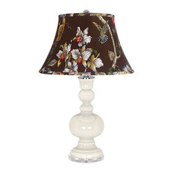 "Color Plus - Contemporary West Highland White Olive Botanical Apothecary Table Lamp - West Highland White glass table lamp. Olive botanical print bell shade. Lucite base. Maximum 150 watt or equivalent bulb (not included). On/off switch. 30"" high. Shade is 10"" across the top 17"" across the bottom 11"" on the slant.   West Highland White glass table lamp.  Olive botanical print bell shade.  Lucite base.  Maximum 150 watt or equivalent bulb (not included).  On/off switch.  30"" high.  Shade is 10"" across the top 17"" across the bottom 11"" on the slant."
