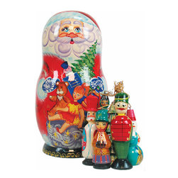 "Artistic Wood Carved Russian Matreshka Santa Claus Doll Sculpture - Measures 9""H x 5""L x 4""W and weighs 2 lbs. Carefully open this Matreshka doll in the middle to reveal a whole collection of hidden treasures. Each ornament tells a story and are freehand painted in rich colors. Each piece was created in the art villages of Russia to our exacting standards for a lifetime of beautiful memories. The adorable hand painted ornament dolls make a great gift and/or collectible. This Russian Matreshka doll has ornaments inside that were beautifully handmade by a Russian artist. Each ornament inside the doll tells a story and are freehand painted in rich colors."